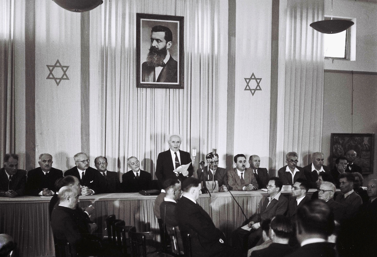 Declaration of Israel at Independence Hall in Tel Aviv. Photo: Wikipedia
