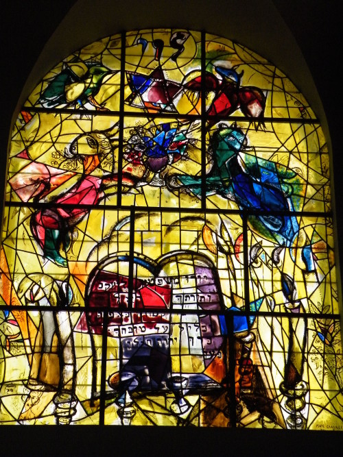 Stained glass window representing the tribe of Levi at Hadassah hospital in Jerusalem. [Marc Chagall / Wiki Commons]