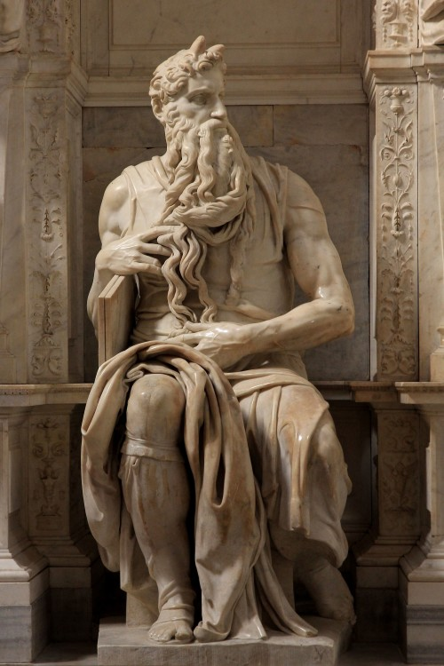 Michelangelo's iconic sculpture of Moses. [Photo: Jörg Bittner Unna / Wiki Commons]