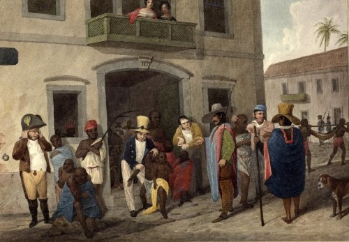 While the Torah permits slavery, its laws are uniquely humane. [The Slave Market at Rio, by Edward Francis Finden / Wiki Commons]